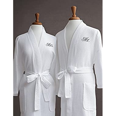 Luxor Linens Egyptian Cotton Waffle Weave Robe with Couple's Embroidery - Perfect Wedding Gift! (Mr./Mrs.)