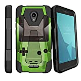 MINITURTLE Kickstand Fusion Hybrid Case Compatible w/Alcatel Verso/CameoX/Raven/Fiji/idealXcite [Ultimate Kickstand Hybrid Cover][Built in Kickstand] - Green Game Color