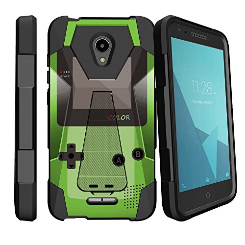 MINITURTLE Kickstand Fusion Hybrid Case Compatible w/Alcatel Verso/CameoX/Raven/Fiji/idealXcite [Ultimate Kickstand Hybrid Cover][Built in Kickstand] - Green Game Color by MINITURTLE