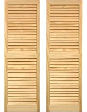 """LTL Home Products SHL59 Exterior Solid Wood Louvered Window Shutters, 15"""" x 59"""", Unfinished Pine"""