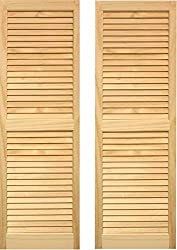 "Ltl Home Products Shl59 Exterior Window Louvered Shutters, 15"" X 59"""