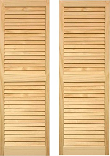 LTL Home Products SHL47 Exterior Solid Wood Louvered Window Shutters, 15'' x 47'', Unfinished Pine by LTL Home Products