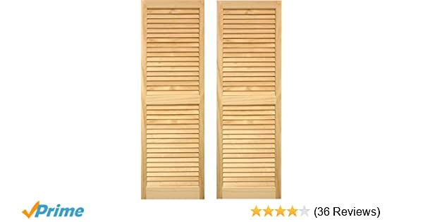 "Unfinished Interior Pine Wood Louvered Shutters 10/"" W x 16/"" L /""AS IS/"" One pair"