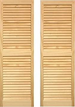 LTL Home Products SHL39 Exterior Solid Wood Louvered Window Shutters 15 x 39 Unfinished Pine