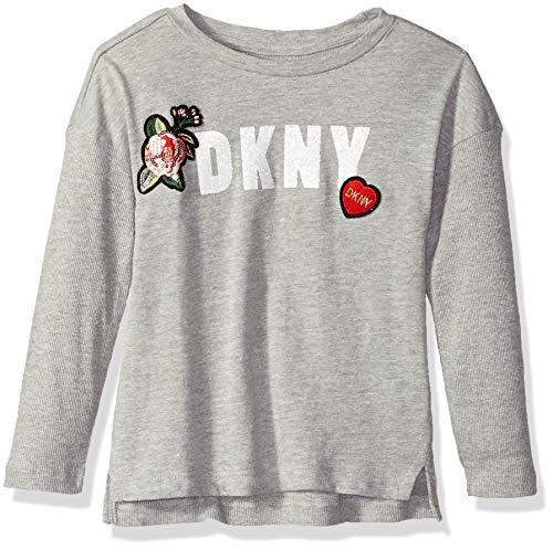 DKNY Girls Long Sleeve Stone Patch Top