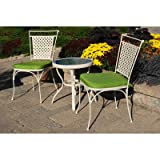 Artisan 3 Piece Metal Bistro Set in Cream Finish with Cushions Color Lime Green (Table) 21.46'' H x 20.08'' W x 20.08'' L in. and (Chair) 35.04'' H x 24.41'' W x 19.69'' D in.