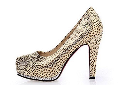 AllhqFashion Mujer PU Cordón Tacón Alto Material Suave Puntera Redonda ZapatosdeTacón Dorado