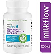 Milkflow Fenugreek Lactation Supplement Capsules with Blessed Thistle for Breastfeeding by UpSpring Baby, 100 Count Pills for Breastmilk Supply, 1800 mg