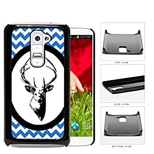 Blue & White Chevron Pattern with Deer Antler in White Center Oval Circle LG G2 Hard Snap on Plastic Cell Phone Case Cover
