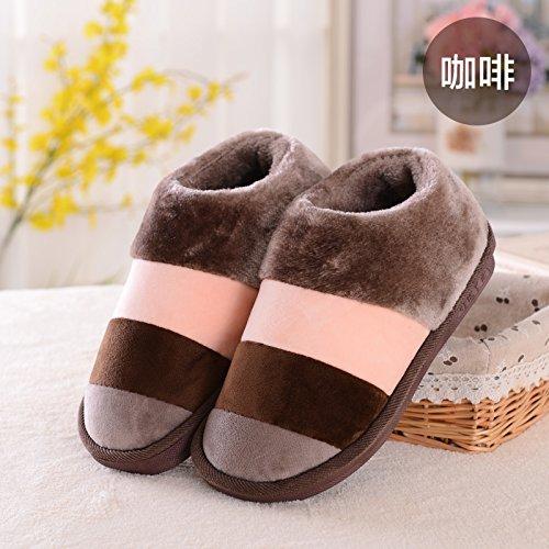 Fankou inverno pacchetto comfort con Dot scarpe di cotone uomini e donne paio di pantofole di cotone home pianale interno caldo ,36-38, mare Stella pacchetto con marrone