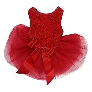 Kirei Sui Rosettes Dog Dress Dog Dress Medium Red