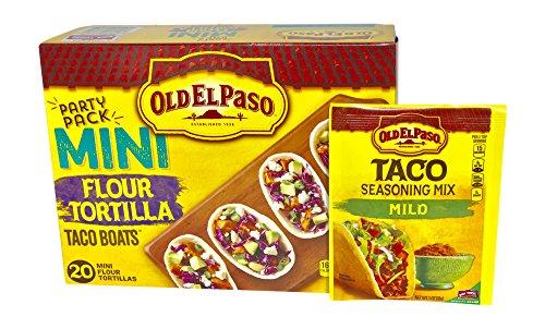 Old El Paso Taco Boats Mini Flour Tortillas 20 ct, bundle with Old El Paso Taco Mild Seasoning 1 packet