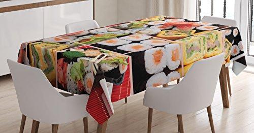 - Japanese Tablecloth by Ambesonne, Cuisine Asian Sushi Fish Raw Meat Rolls South East Fast Food Ceremony Artwork, Dining Room Kitchen Rectangular Table Cover, 52 W X 70 L Inches, Multicolor