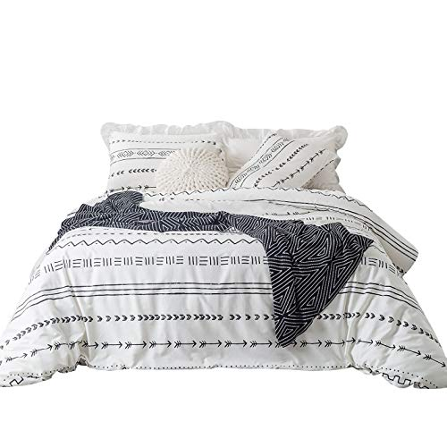 YuHeGuoJi 3 Pieces Duvet Cover Set 100% Cotton White King Size Aztec Pattern Bedding Set 1 Arrow Print Duvet Cover with Zipper Ties 2 Pillowcases Hotel Quality Soft Breathable Easy Care Durable