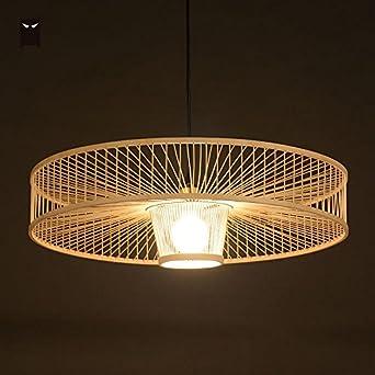 TL-LAMPS Main en osier bambou lampe à suspension en rotin appareil ...