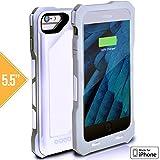 iPhone 7/6S/6 Plus Battery Case, Alpatronix BX150plus 5.5-inch SHOCKPROOF 4000mAh Protective Portable Charging Case for iPhone 7 Plus, 6S Plus, 6 Plus [MFi Certified, iOS 10+] - White Carbon Fiber