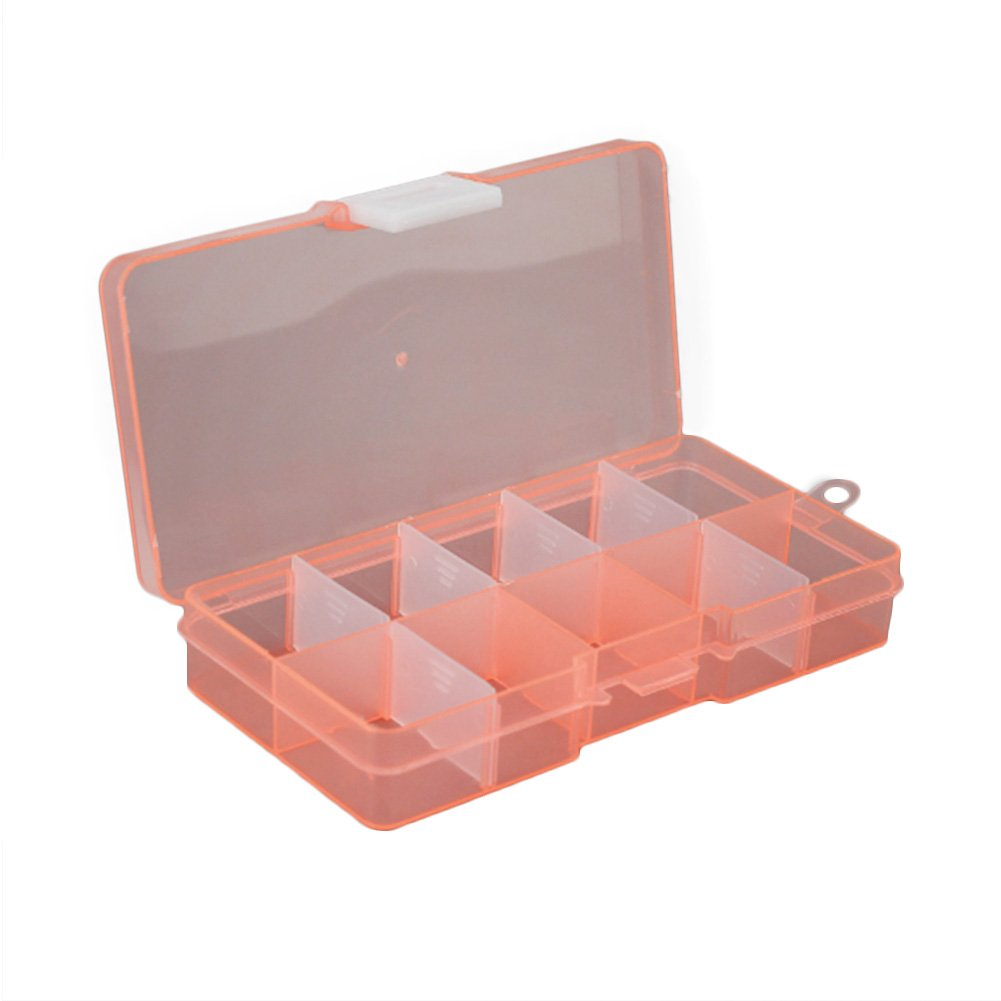 diffstyle 10 Grids Plastic Storage Box Detachable Jewelry Container Transparent Pill Organizer Fishing Box (2, BO(5'' x 2.36'' x 0.9''))