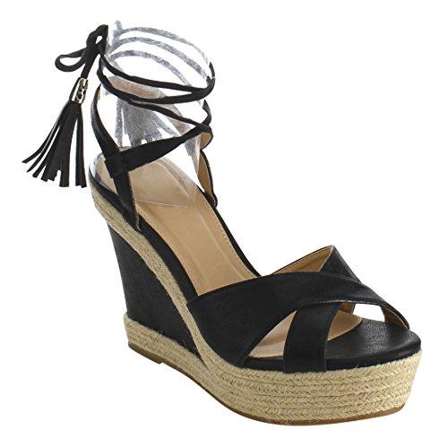Sky SHOP Women's Cross Strappy Tassel Platform Wedge High Heel Sandals ( Color : BLACK , Size : 9 )
