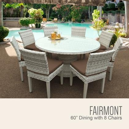 TK Classics FAIRMONT-60-KIT-8C-COCOA Fairmont 60 Inch Outdoor Patio Dining Table with 8 Armless Chairs with 2 Covers: Beige and (Fairmont Dining Set)