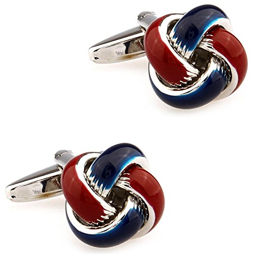 CIFIDET Dark Blue & Dark Red Epoxy Enamel Knots Cuff Links Fashion Men Shirt Cufflinks with Gift Box