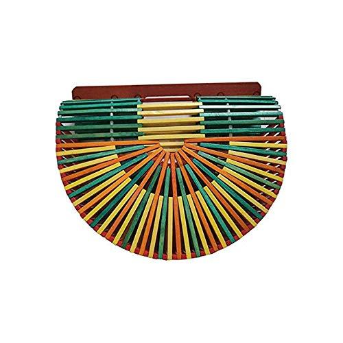 Tarynna Women's Beach Semicircle Bamboo Bag/Vintage Fashion Bamboo Handbag/Craft Cute Purse (Colorful Small)