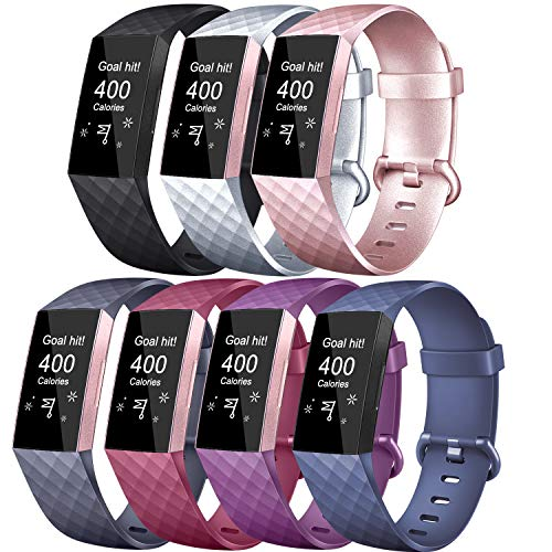 Tobfit Sport Bands Compatible with Charge 3 & Charge 3 SE, Rose Gold, Silver, Plum, Black, Blue, Wine Red, Blue Grey, Small, 7 Pack
