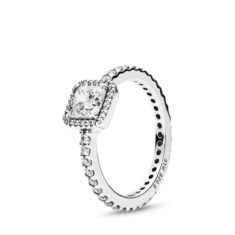 PANDORA Timeless Elegance Ring, Sterling Silver, Clear Cubic Zirconia, Size 6 by PANDORA