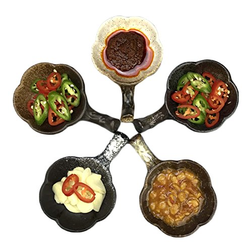 (Colias Wing Creative Plum Blossom Shape Design Multipurpose Porcelain Side Dish Bowl Seasoning Dishes Soy Dipping Sauce Dishes Chopsticks Rest Set (Set of 5))