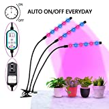 Grow Light, Grow Lights for Indoor Plants, ELIVERN 36W LED Bulbs Timming Plant Grow Lamp with Red, Blue Spectrum, 4/8/12H Timer, 3-Head Divide Control Adjustable Gooseneck, 8 Dimmable Levels