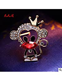 Crystal brooch Korean version of the retro cute cartoon monkey mouth corsage brooch men and women suit with jewelry gift zodiac