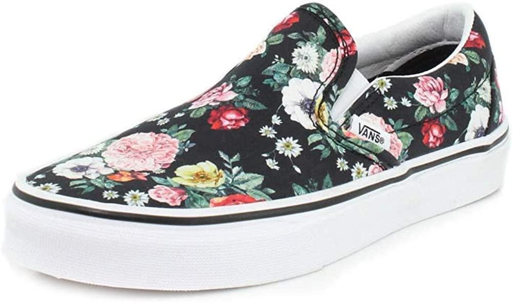 Vans Unisex Classic Slip-On Garden Floral Black/True White Sneaker - 5