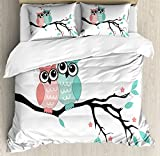 Teal and White Duvet Cover Set King Size by Ambesonne, Cute Owl Couple Sitting on Tree Branch Valentines Romance Love, Decorative 3 Piece Bedding Set with 2 Pillow Shams, Turquoise Coral Black