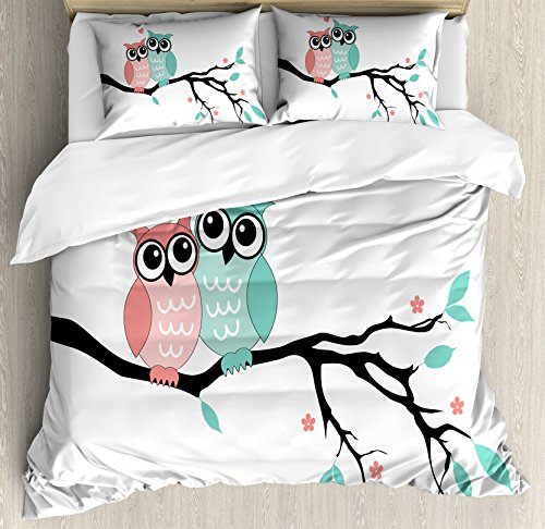 Ambesonne Teal and White Duvet Cover Set Queen Size, Cute Owl Couple Sitting on Tree Branch Valentines Romance Love, Decorative 3 Piece Bedding Set with 2 Pillow Shams, Turquoise Coral Black