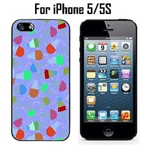 Lovely Ice Cream Pattern Custom Case/ Cover/Skin *NEW* Case for Apple iPhone 5/5S - Black - Rubber Case (Ships from CA) Custom Protective Case , Design Case-ATT Verizon T-mobile Sprint ,Friendly Packaging - Slim Case