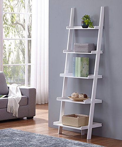 (White Finish 5 Tier Bookcase Shelf Ladder Leaning - 72