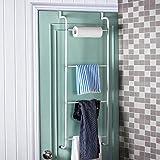 MyGift Space Saving White Metal Over the Door Towel Rack/Clothing Hanger