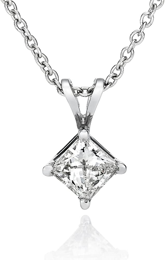 2ct Princess Created Diamond Pendant 14K Solid Yellow Gold Solitaire Charm 7mm