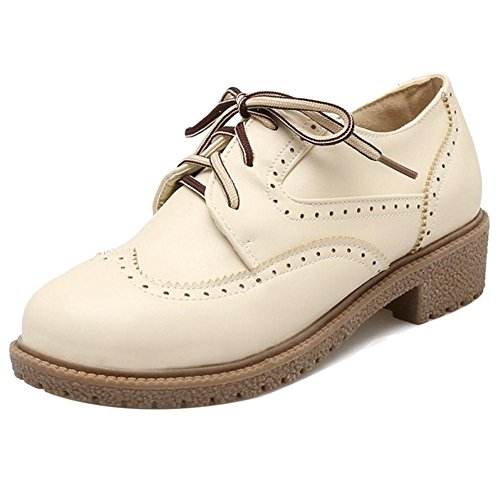 COOLCEPT Women Lace Up Square Heels Court Shoes Beige NVykIIM3