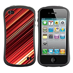 "Hypernova Slim Fit Dual Barniz Protector Caso Case Funda Para Apple iPhone 4 / iPhone 4S [Red Abstract Stripes""]"