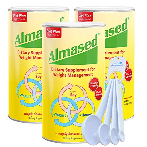 Almased Powder Multi Protein Meal Replacement Shake, Supports Weight Loss 17.6 oz (3 Pack) Bundle with a Lumintrail Measuring Spoon Set