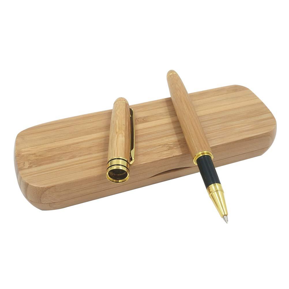 Bolígrafo de bambú con estuche