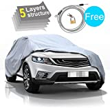 """SUV Car Cover-5 Layers All Weather Waterproof, for Snow, UV Protection, for Toyota Honda Kia etc., Free Windproof Ribbon & Anti-theft Lock, Fits up to 182"""""""