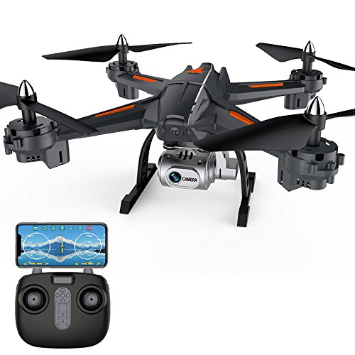 Drone eye Wifi FPV RC Camera Drone, HD1080P Camera with Smart Phone App, Headless Quadcopter Drone for Beginners, 2 Batteries Included (Exclusive Black orange Color)