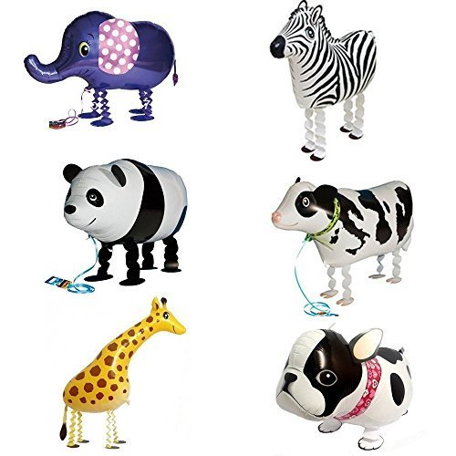 Signstek 6pcs Walking Animal Balloons Birthday Party Decor Children Kids Gift - Including Bulldog, Giraffe, Zebra, Elephant, Panda, ()
