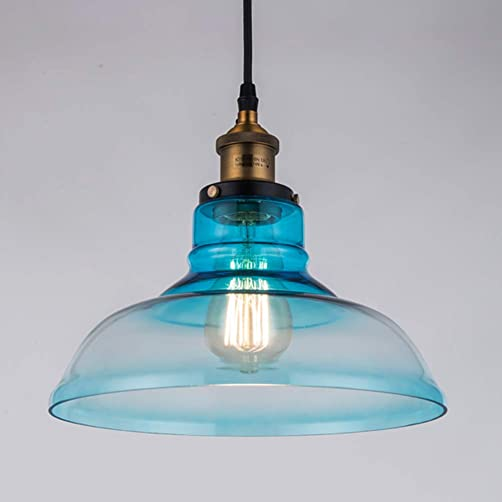 JOECOSTER Blue Glass Pendant Light Fixtures, Classic Retro Glass Pendant Lighting, for Bedroom Restaurant Kitchen Bar Restaurant Farm Warehouse.