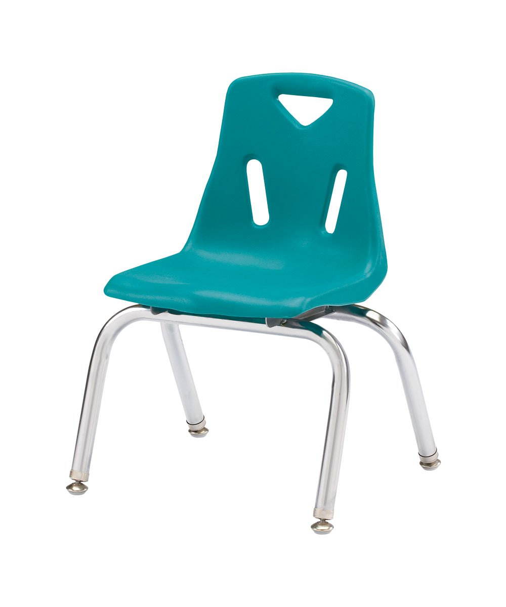 Image of Décor & Storage Berries 8140JC6005 Stacking Chairs with Chrome-Plated Legs, 10' Ht, 15.5' Height, 20' Wide, 13.5' Length, Teal (Pack of 6)