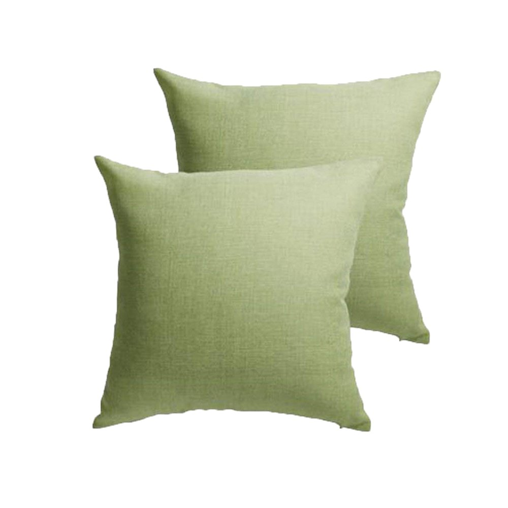 Set of 2 Throw Pillow Covers Coastal Cushions Fine Faux Linen Home Decorative Soft Pillow Case Covers With Zipper for Chair No Pillow Insert Outdoor Indoor Home Decor(18 x 18 inch, Spinach Green)