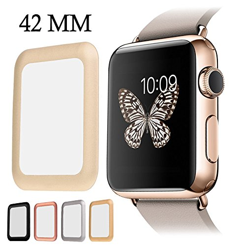 for Apple Watch Screen Protector, AYAMAYA Full Screen Coverage [Real Tempered Glass] Bumper Case with 3D Curved Edge & High Defintion for Apple Watch 42mm Series 3 2 1 (Gold)