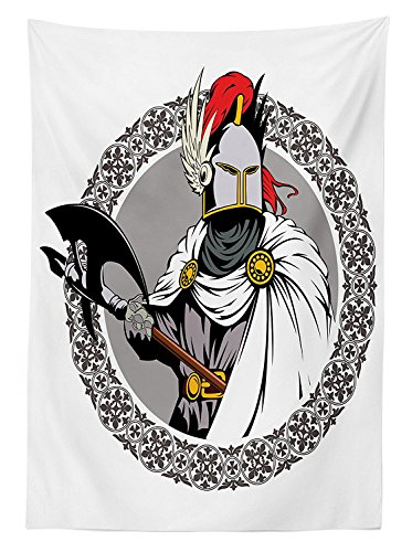 Chinese Traditional Costume For Rent (Medieval Decor Tablecloth Illustration of the Medieval Knight with Traditional Costume and Ancient Mask Heroic Past Dining Room Kitchen Rectangular Table Cover)