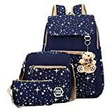 ABage Girls' Canvas Backpack Set 3 Pieces Patterned Bookbag Laptop School Backpack